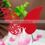 Butterfly Shaped Laser Cut Paper Cup Card / Wine Glass Card For Wedding Decoration Favors