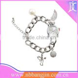 New design China supplier Women's Girl's Fashion Quartz Charms Bracelet Wrist Watch