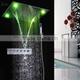 Wholesale mixer cold and hot shower faucet set bathroom bath accessories remote control LED rain SPA shower head kit waterfall