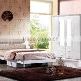 2016 white upholster leather bedroom suite hot for sale-S011