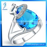 Drop sapphire blue ring in rhodium plated