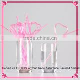 Disposable heart shaped plastic drinking straw