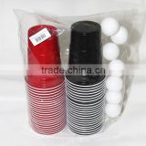 Beer pong party pack disposable plastic black cup game set beer pong set 44cups with 8 balls