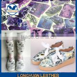 water proof China pu leather stamping leather artificial leather for rain boots stamps design