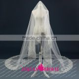 V04 Real Sample One Layer Tulle Ivory Wedding Veil With Lace Appliques Wedding Accessories