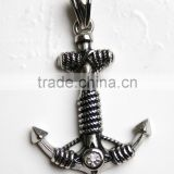 Stainless Steel Pendant- bright finish Navy anchor with Black wash rope around and Clear gem at the bottom