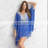 Blue Chiffon lacework Fashion plus size uv protection blouse PMZL-6273