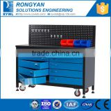 blue metal workstation with roller drawers