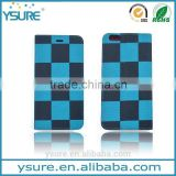 Blue Chess Pattern Fabric Book Style Leather Phone Case For Alcatel One Touch POP C7 with PVC ID and credit card slots