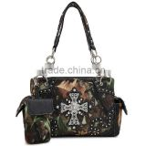 Wholesale Rhinestone Camouflage Western Buckle Design Sling Purse Cross
