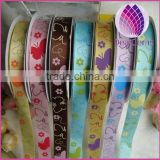 Cute butterfly grosgrain ribbon,5/8 inch with single-side printed animal,Children's hair accessories,100yards / roll.