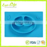 499G BPA Free FDA Silicone Smile Baby 3-part Bowl Placemat, Non-slip Kids Dinning Bowl Tablemat