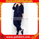 Wholesale breathable fashion solid color long sleeve polyester/cotton plus size custom adult onesie with hood