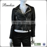 2014-2015 wholesale fashion lady leather jacket Stylish women's Black Leather Jacket With Beaded