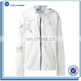 Wensfashion Casual Professional Pull Over Hoodie Ecru white cotton Star Laced zipped hoodie