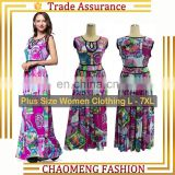 5033# New Style Floral Print Summer Women Boho Sundress Clothing Beach Party Wear Long Bohemian Maxi Dress Plus Size