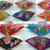 Indian Cotton Kantha Pillow Cover Handmade Designer Cushion Cover Ethnic Bed Pillow Manufacturer