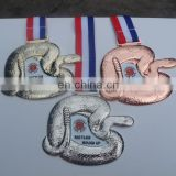 hot selling custom make zinc alloy snake Judo, karate taekwondo, sport medal with ribbon for competition