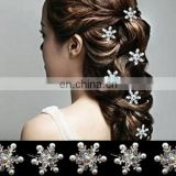 Wedding U-shaped Bridal Hair Clip,Crystal&pearl Snowflake Hairpin,Movie Frozen Hair Jewelry Accessory