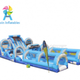 Inflatable water slide with obstacles Aqua Rush HUGE water slide park combining 5 module