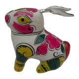 handcrafts clay sculpture Chinese Zodiac business gift  painted rabbit birthday gift