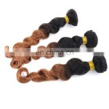 factory wholesale online remy weave tangle free ombre color 1B/30 loose wave
