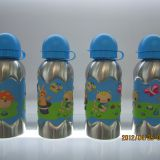 Cute lovely stainless steel sports water bottle with colorful silicon band