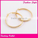 Top design high quality stainless steel party jewelry plate gold earrings models with crystal