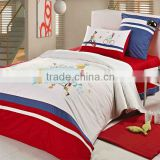 Embroidery Boy and Girl Bedding Cotton Child Duvet Cover Bed Set 205TC In Light White Red Blue Color