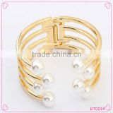 Wholesales bracelet opening Wide Wire Pearls Cuff Bangle bracelet exaggerate pearl jewelry