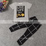 Brand Foreign Trade Children Cloth Wholesale 16073 Summer Ins Letter Child Cloth Boy Haroun Pants Suit