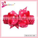 Yiwu market factory wholesale knitted ribbon bow elegant wide designer baby headbands (TK1-0565)