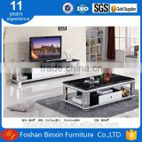Marble top D015 stainless steel &tempered glass rectangular coffee table with wooden drawers tea table