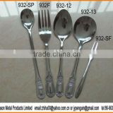 932# lastest design stainless steel high quality tableware 5pcs cutlery set - soda spoon, spoon, fork and sausage fork