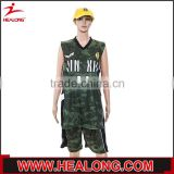 cheap price unisex submation reversible camo basketball uniform with cap
