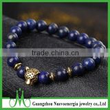 Blue bead bracelet men wholesale price sale lapis lazuli bead bracelet with Leopard head