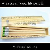School kids pencil set natural wood hb pencil eco stationery in wooden box with ruler