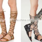 Factory Outlet Bohemia Beads Lace Up Women Sexy Flat Sandals