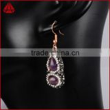 Silver calabash shape amethyst stone double sided earrings, wholesale handmade sterling jewelry