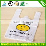 wholesale cheap shopping bag / side gusset flat bottom bag / t-shirt thank you plastic bag