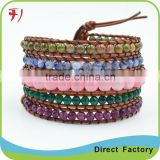 Blue And Yellow Stone On Real Leather European Style Multilayer Wrap Bead Bracelet
