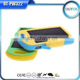 Christmas gift dual flashlight usb charger waterproof power bank solar battery charger 8000mah
