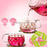 Premium family use beautiful glass teaset with pink flower design Chinese teaset pyrex glass 650ml teapot with 2pcs tea cups