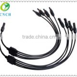CNCHY type 45 MC4 solar panels adapter cable connector branch, 4 MC4 connectors along the line