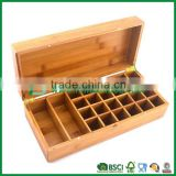 large capacity personalized tea bag box bamboo, Chinese tea box with dismountable adjustable compartments