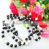 2016 new product wholesale fashion bead necklace with multi color acrylic bead earphone headphone