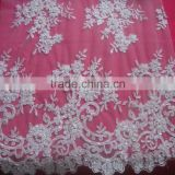Embroidery tulle lace fabric with pearls and sequins for hemline or the skirt