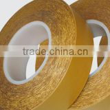 Yellow Glassine liner Double sided PET adhesive tape solvent based glue