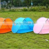 Blue red pop up beach tent with floor and UV protection 50+ in various colors