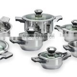 12pcs 555 stainless steel kitchen cookware stock pot and frying pan sets